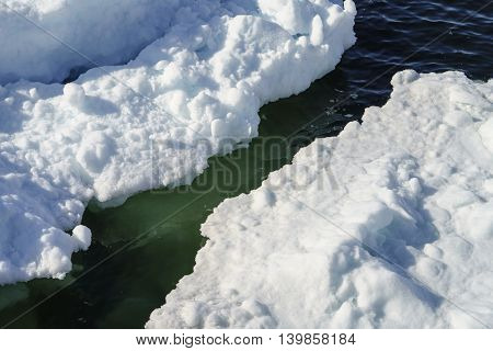 Icebergs on the Arctic Ocean to Ilulissat fjord in Greenland