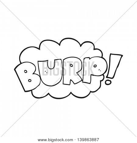 freehand drawn black and white cartoon burp text