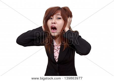 Stressed businesswoman shocked or screaming whlie holdding her head - Business concept