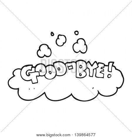 freehand drawn black and white cartoon good-bye symbol