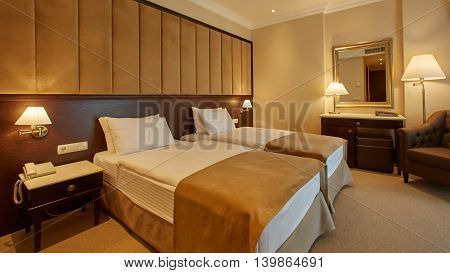 The modern interior of double bed room