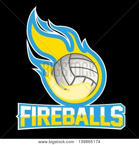 Flying volleyball ball with green fire flames on dark background. Design element. Vintage item. Modern professional logo for sport team.