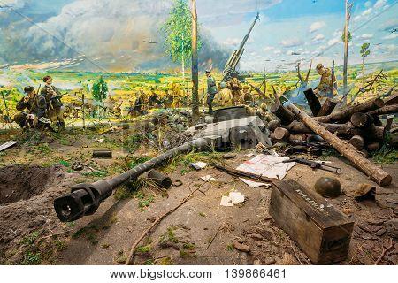 Minsk, Belarus - December 20, 2015: Diorama depicting the defeat of Nazi troops in Belarus. Belarusian Museum Of The Great Patriotic War In Minsk, Belarus