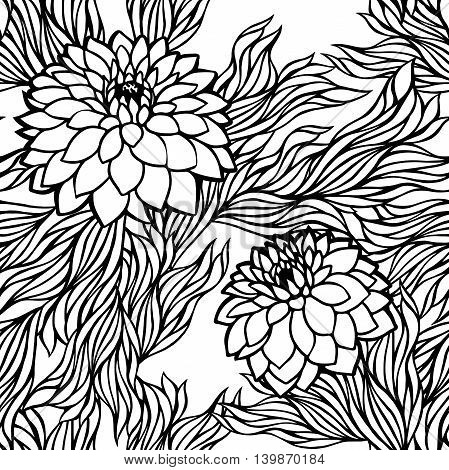 Vector seamless floral pattern black and white monochrome in retro vintage style aster; peony; chrysanthemum; dahlia for wallpaper postcard print textile fabric and others
