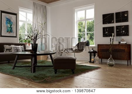 3d rendering of a modern living corner in a converted loft with a natural wood floor, sofa, chairs and a table lit by two windows with artwork on the walls
