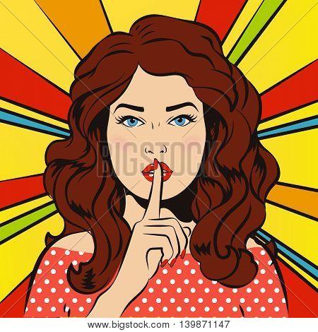 Woman says Shh! Retro vintage. Woman says Shh! Retro vintage. The girl asks for silence. It's a secret!
