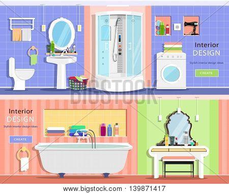 Set of modern graphic bathroom interiors: bath, showers cabin, washbasin, mirror, toilet, dressing table. Flat style vector illustration.