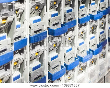 Power circuit breakers for high-voltage network. Industrial background.