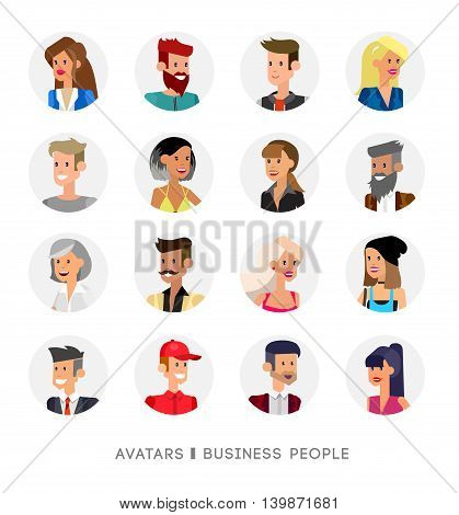 Cute cartoon human avatars set, big male and female faces collection. Vector detailed characters business people, men and women
