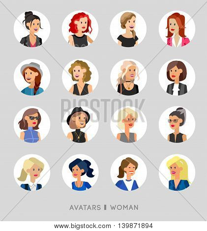 Cute cartoon human avatars set, big female faces collection. Vector detailed characters business people