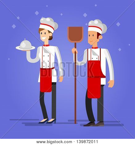 Vector detailed characters woman and man professional chef, Cook baker, flat design