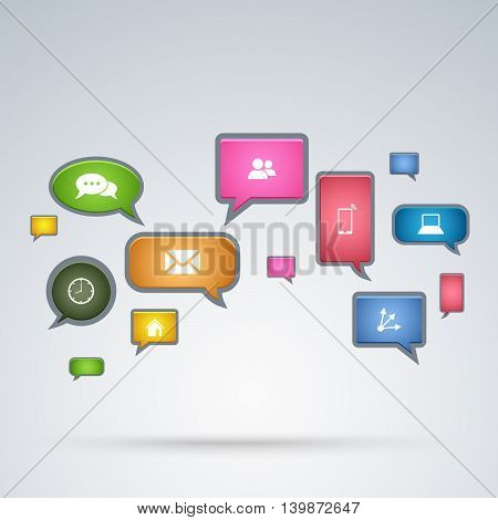 Communication aplication in bubbles background vector eps 10
