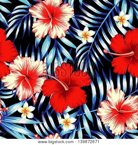 Red and pink hibiscus flower on a background of palm leaves and plumeria in a trendy blue vector style. Hawaiian tropical natural floral seamless pattern