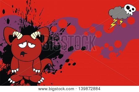 funny red demon cartoon background in vector format very easy to edit
