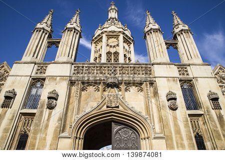 CAMBRIDGE UK - JULY 18TH 2016: A view of the magnificent Gate House of Kings College in Cambridge on 18th July 2016.