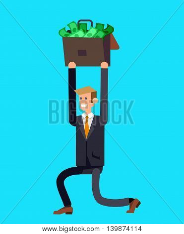 Vector detailed character business investor has the money gains. Web concept