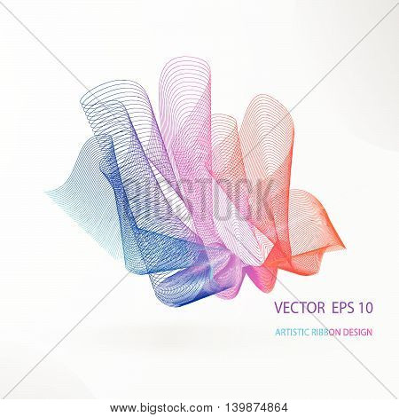 Vector artistic fractal ribbon design. Moving rainbow abstract background for poster, flayer, banner, cover, business card, presentation, Illustration. Abstract fractal concept.