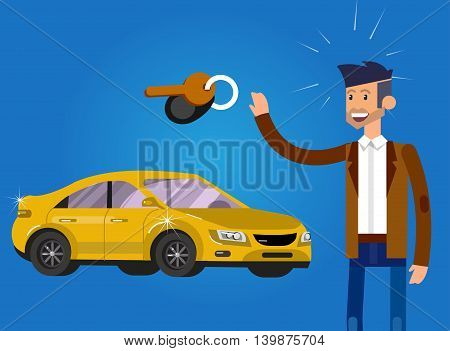 design concept of choice and buying a car. Vector detailed character buyer and seller, cool flat illustration.