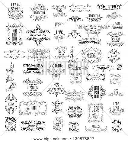Set of elegant calligraphic design. Vector linear frame and ornament