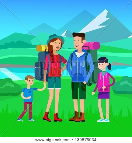 Morning landscape in the mountains. Men and woman character tourists. Camping and Hiking Weekend. Vector flat illustration
