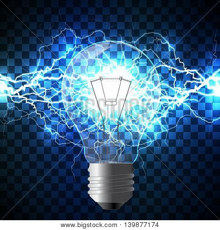 Realistic light bulb filled with white lightning bolt created from intertwined white lightnings and surrounded with shining blue lights on blue background. Concept of idea born and power of mind.