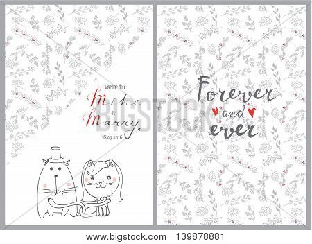 Doodle line design of web banner template with outline cartoon wedding icons. Wedding invitation and wedding card