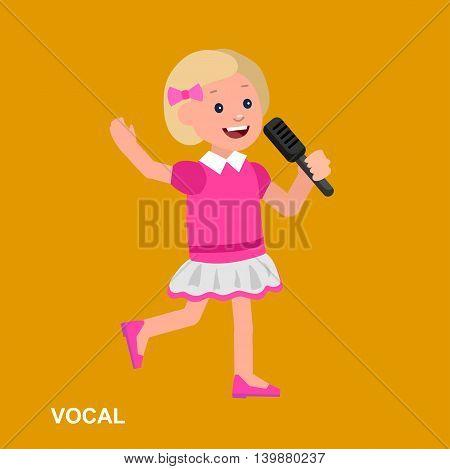 Cute vector character girl. Happy kid girl sings. Education and child development. Banner for kindergarten, children club or school of Arts, music school