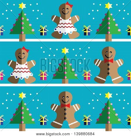 Seamless pattern with two shades gingerbread man and gingerbread woman, snow, geometrical Christmas trees with lights and babbles Christmas gifts in two shades on light blue background