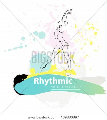 Vector artistic Rhythmic Gymnastic sketch logo. Hand drawn brush stroke paint drops, spot, sketching for graphic design, poster, banner, flayer, billboard, placard, card, competition.Art grange style.