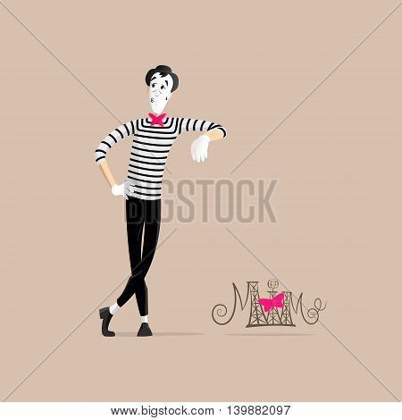 A Mime performing a pantomime called leaning against invisible wall