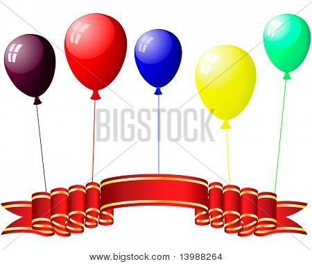 Beautiful colour balloons in the air. poster