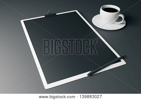 Closeup of white clipboard with black paper sheet pen and coffee cup on grey background. Mock up 3D Rendering