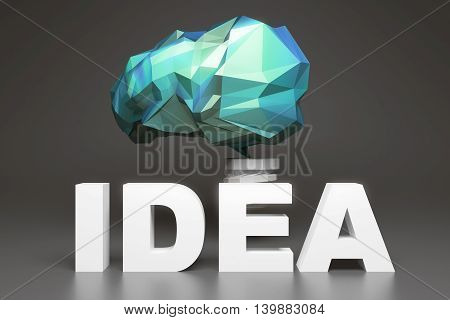 Creative idea concept with abstract green polygonal brain lightbulb on dark grey background. 3D Rendering