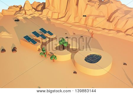 Eco concept with solar panels water trees mountains and rocks in polygonal desert. 3D Rendering