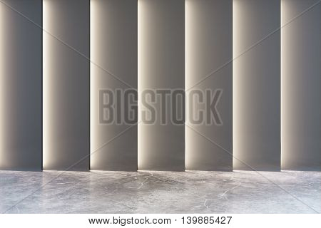 Empty interior with abstract grey wall and concrete floor. 3D Rendering