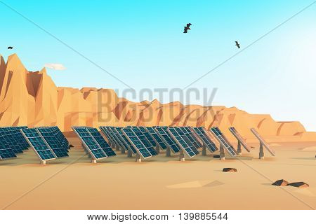 Side view of solar panels in polygonal desert with mountains several clouds and birds in the sky. 3D Rendering