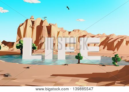 Abstract polygonal desert with mountains and voluminous text in pond. Life concept. Clear sky background. 3D Rendering