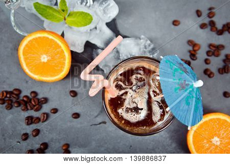 Fresh Cocktail With Orange, With Mint And Ice And Coffee. Alcoholic, Non-alcoholic Drink-beverage