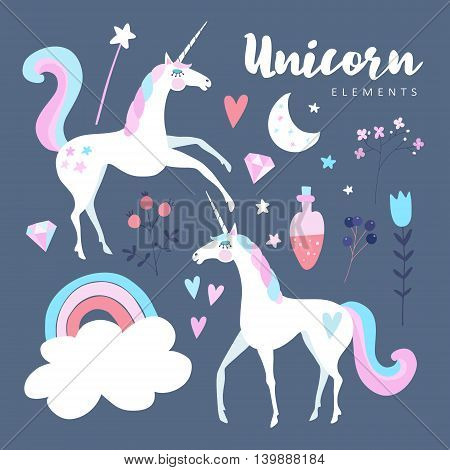 Fairytale elements. Unicorn with rainbow stars cloud magic potion and flowers. Cute isolated vector objects flat design.