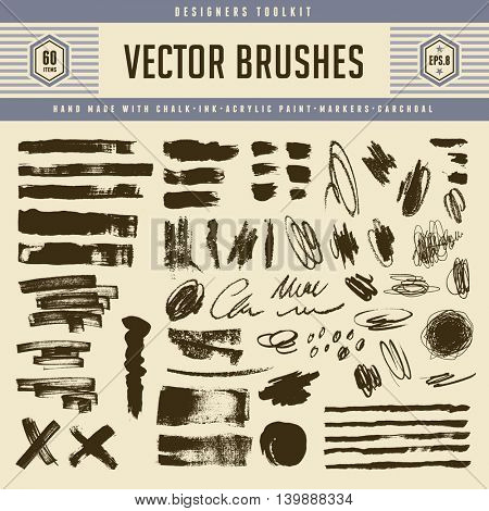 large collection of grunge vector brush strokes and textures - pencil scribbles, marker lines, charcoal, ink, chalk and acrylic paint