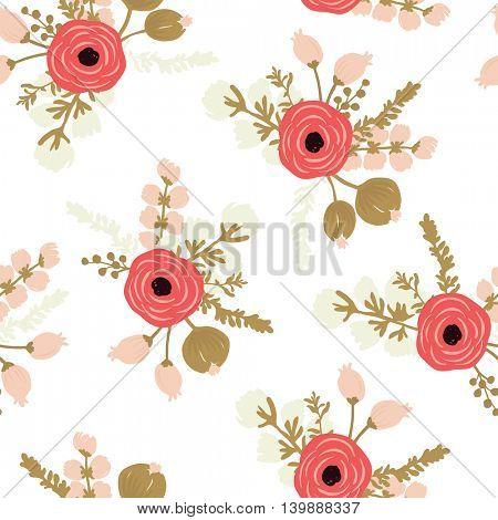 Hand drawn rose seamless modern floral pattern