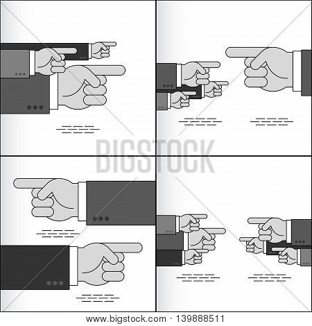 Index fingers show the directions; Group of arrow signs from the pointing hands with forefingers in the sleeves of business suits; Vector set Eps8
