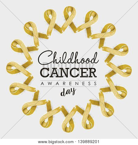 Child Cancer Awareness Ribbon Design With Text