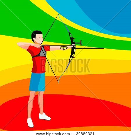 Archery Player 2016 Summer Games. 3D Isometric Archery Player Archer. Sporting Championship International Archeryes Competition. Sport Illustration