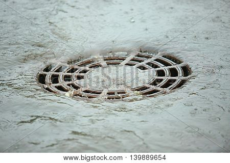 the flow of water after rain flows down through to storm water drain