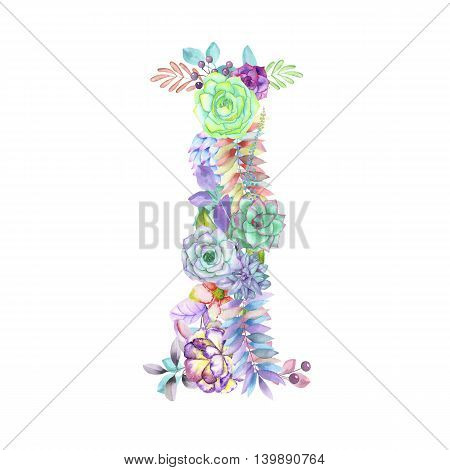 Capital letter I of watercolor flowers, isolated hand drawn on a white background, wedding design, english alphabet for the festive and wedding decor and cards