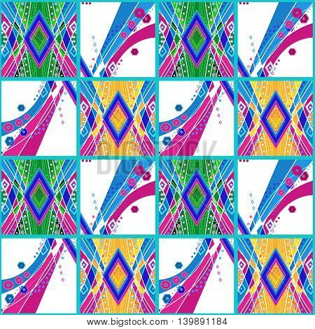 Patchwork seamless ornamental pattern with bright colors background