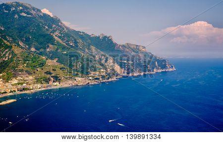Amalfi Coast and Mediterranean sea seen from Ravello. Italy