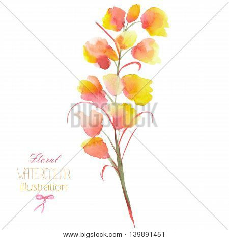 Illustration with the isolated watercolor yellow, orange and red Delphinium (Larkspur) flower, hand drawn on a white background,  for self-compilation of the bouquets and ornaments
