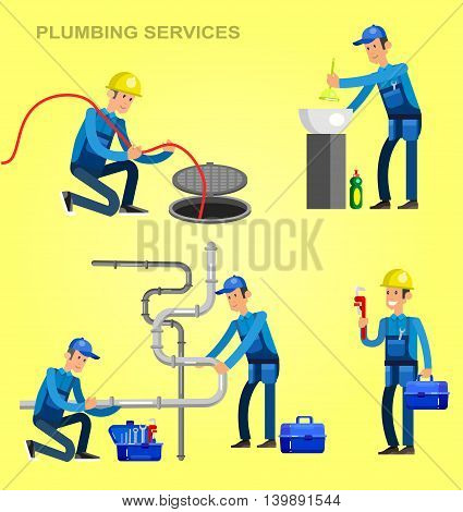 Detailed character proffesional plumber repair, fixing water pipes. Vector set Illustration